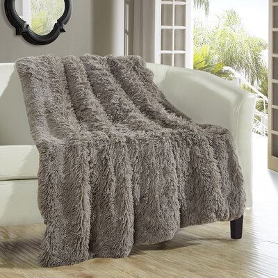 Elana Shaggy Supersoft Ultra Plush Decorative Throw Blanket Color: Taupe
