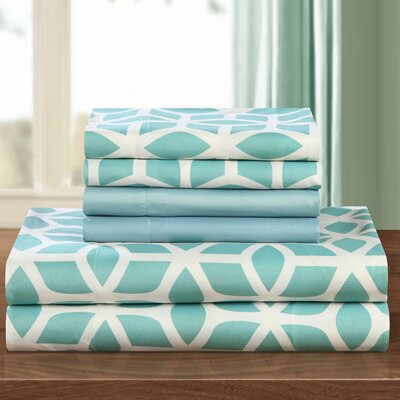 Norfleet Contemporary Geometric Sheet Set Size: Queen, Color: Green