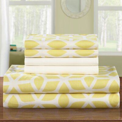 Norfleet Contemporary Geometric Sheet Set Size: Queen, Color: Yellow