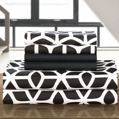 Norfleet Contemporary Geometric Sheet Set Size: Queen, Color: Black