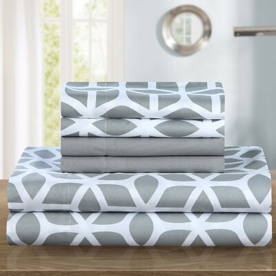 Norfleet Contemporary Geometric Sheet Set Size: Queen, Color: Gray