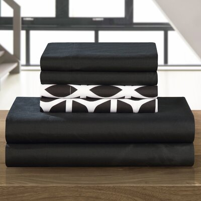 Norfleet Sheet Set Size: Queen, Color: Black