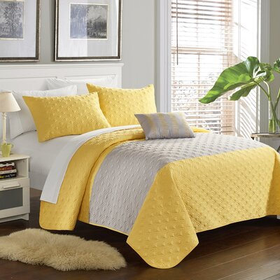 Dominic 8 Piece Quilt Set Size: King, Color: Yellow