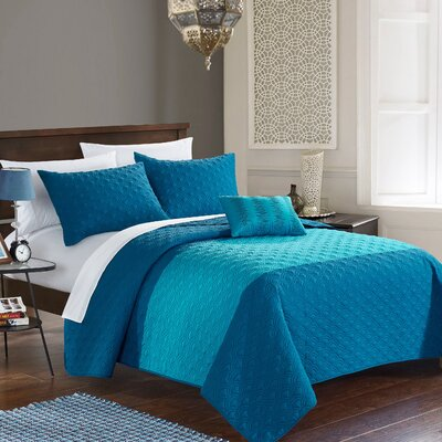 Dominic 8 Piece Quilt Set Size: Queen, Color: Teal