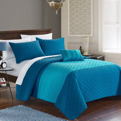 Dominic 4 Piece Quilt Set Size: King, Color: Teal
