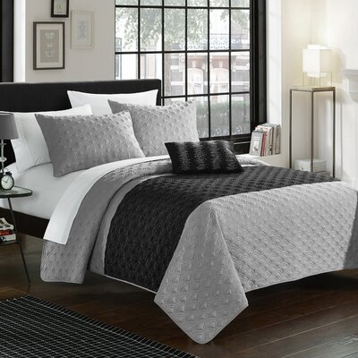 Dominic 4 Piece Quilt Set Size: King, Color: Gray