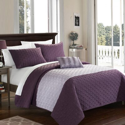Dominic 4 Piece Quilt Set Size: King, Color: Lavender