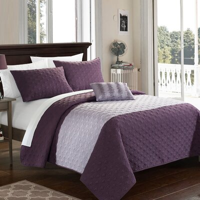Dominic 8 Piece Quilt Set Size: Queen, Color: Lavender