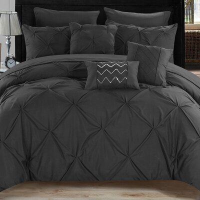 Filicia 8 Piece Twin Comforter set Color: Black