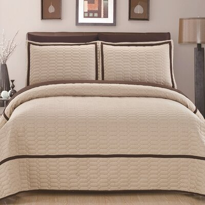 Birmingham Quilt Set Size: Queen, Color: Beige