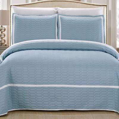 Birmingham Quilt Set Size: King, Color: Blue