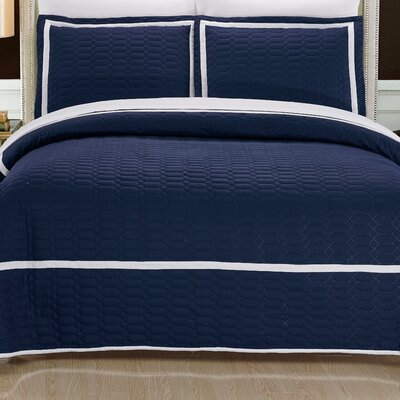 Birmingham Quilt Set Size: King, Color: Navy
