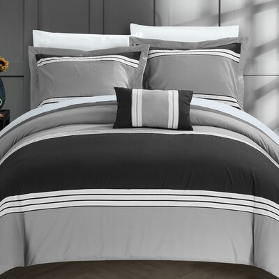 Madison Hotel 8 Piece Duvet Cover Set Size: King, Color: Black
