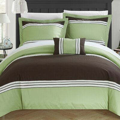 Madison Hotel Duvet Cover Set Size: Queen, Color: Green
