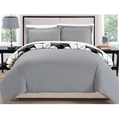 Morning Glory Reversible Duvet Cover Set Size: Queen, Color: Gray
