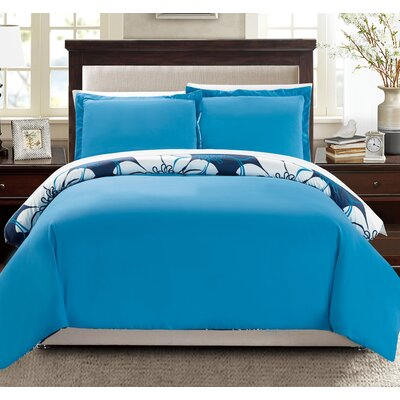 Morning Glory 7 Piece Reversible Duvet Cover Set Size: King, Color: Blue