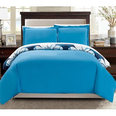 Morning Glory Reversible Duvet Cover Set Size: King, Color: Blue