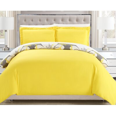 Morning Glory Reversible Duvet Cover Set Size: Twin, Color: Yellow