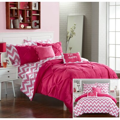 Louisville Reversible Comforter Set Size: Full, Color: Fuchsia