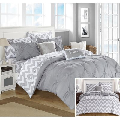Louisville Reversible Comforter Set Size: Full, Color: Gray