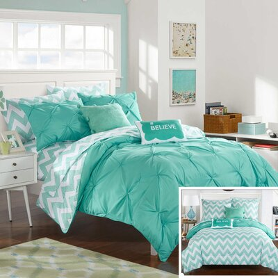 Louisville Reversible Comforter Set Size: Full, Color: Aqua