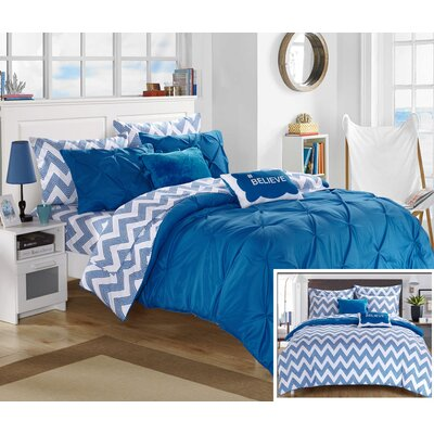 Louisville Reversible Comforter Set Size: Full, Color: Blue