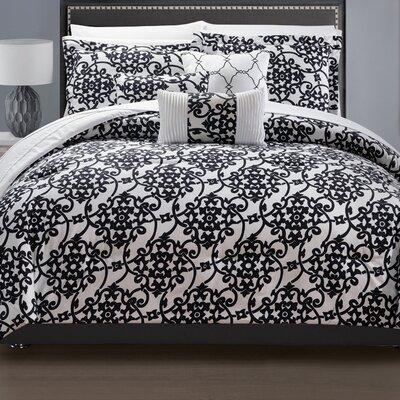 Lea 10 Piece Reversible Comforter Set Color: White, Size: Queen