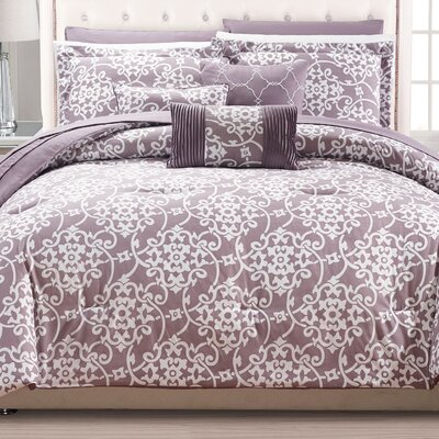 Lea 10 Piece Reversible Comforter Set Color: Plum, Size: Queen