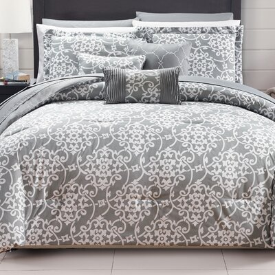 Lea 10 Piece Reversible Comforter Set Color: Gray, Size: Queen