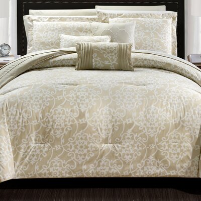 Lea 10 Piece Reversible Comforter Set Color: Biege, Size: Queen