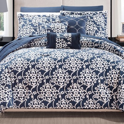 Lea 10 Piece Reversible Comforter Set Color: Navy, Size: Queen