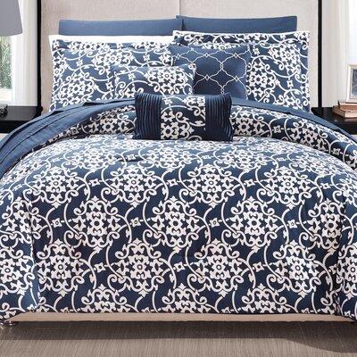 Lea 10 Piece Reversible Comforter Set Color: Navy, Size: King