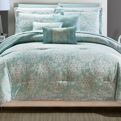 Lea 10 Piece Reversible Comforter Set Color: Aqua, Size: Queen