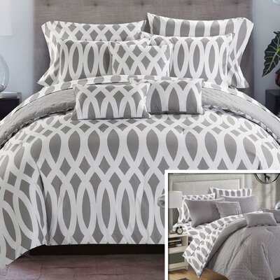 Holland Reversible Comforter Set Size: Queen, Color: Gray