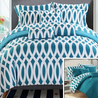 Holland Reversible Comforter Set Size: Queen, Color: Teal