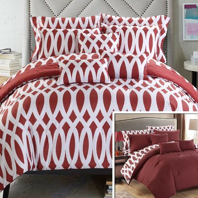 Holland Reversible Comforter Set Size: Queen, Color: Marsala