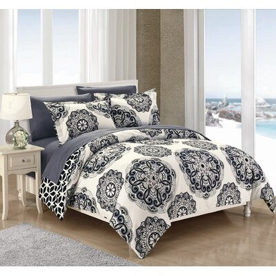 Ibiza Reversible Duvet Cover Set Size: King, Color: Black