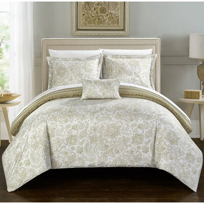 Eliza 8 Piece Reversible Duvet Cover Set Size: Queen, Color: Beige