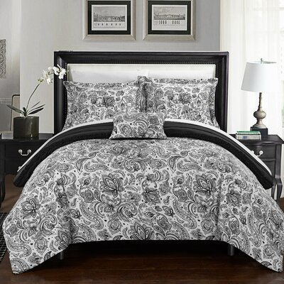 Eliza 8 Piece Reversible Duvet Cover Set Size: Queen, Color: Black