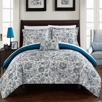 Eliza 8 Piece Reversible Duvet Cover Set Size: Queen, Color: Navy