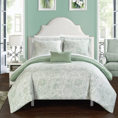 Eliza 8 Piece Reversible Duvet Cover Set Size: King, Color: Green