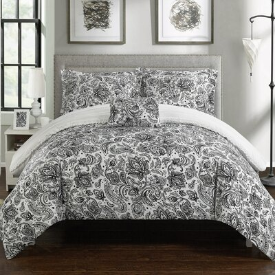 Eliza 8 Piece Reversible Duvet Cover Set Size: Queen, Color: White