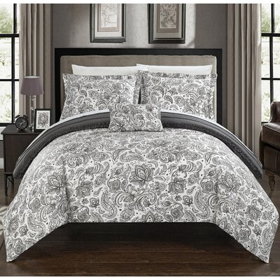 Eliza 8 Piece Reversible Duvet Cover Set Size: Queen, Color: Gray