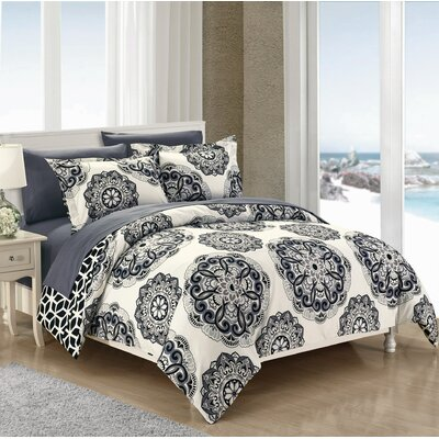Ibiza 7 Piece Reversible Duvet Cover Set Size: King, Color: Black