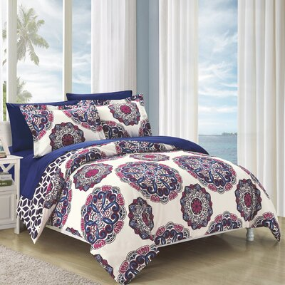 Ibiza Reversible Duvet Cover Set Size: Queen, Color: Navy