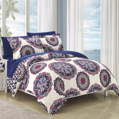Ibiza 7 Piece Reversible Duvet Cover Set Size: King, Color: Navy
