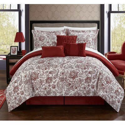 Elle Reversible Comforter Set in Burgundy Size: King