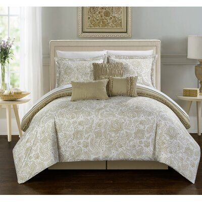 Elle Comforter Set in Beige Size: Queen