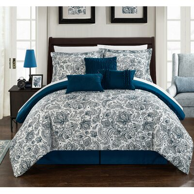 Elle Reversible Comforter Set in Navy Size: Queen