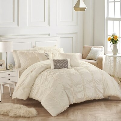 10 Piece Tori Comforter Set Size: King, Color: Beige